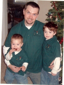 Jim & two Brownies ready to work in their Brown Box Organics shirts.