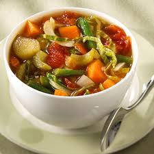Vegetable Soup or soup with rice, barley or other grains makes a hearty meal.